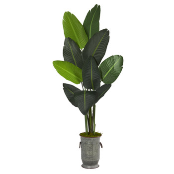 64 Travelers Palm Artificial tree in Vintage Metal Planter - SKU #T1322