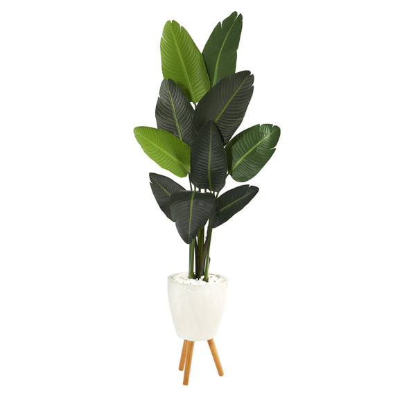 6 Travelers Palm Artificial tree in White Planter with Stand - SKU #T1323