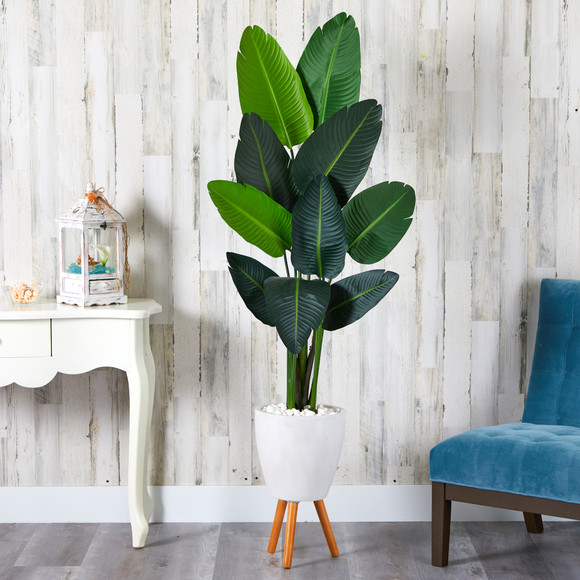 6 Travelers Palm Artificial tree in White Planter with Stand - SKU #T1323 - 2