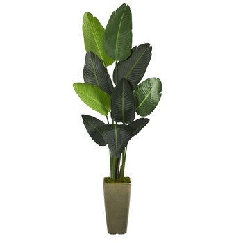 69 Travelers Palm Artificial tree in Green Planter - SKU #T1324