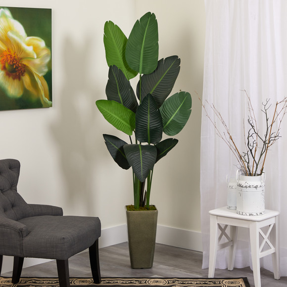 69 Travelers Palm Artificial tree in Green Planter - SKU #T1324 - 2