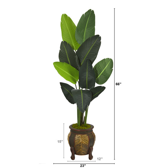 5.5 Travelers Palm Artificial Tree in Decorative Planter - SKU #T1325 - 1