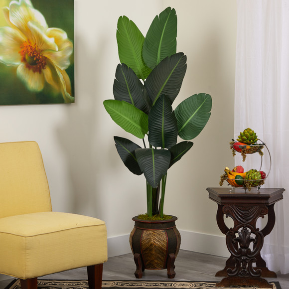 5.5 Travelers Palm Artificial Tree in Decorative Planter - SKU #T1325 - 2