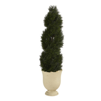 58 Double Pond Cypress Spiral Topiary Artificial Tree in Planter UV Resistant Indoor/Outdoor - SKU #T1328