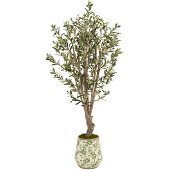 62 Olive Artificial Tree in Floral Print Planter - SKU #T1329