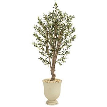 64 Olive Artificial Tree in Decorative Urn - SKU #T1330
