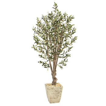 5 Olive Artificial Tree in Country White Planter - SKU #T1331