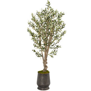 62 Olive Artificial Tree in Ribbed Metal Planter - SKU #T1332