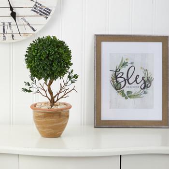 16 Boxwood Topiary Artificial Tree in Ceramic Planter UV Resistant Indoor/Outdoor - SKU #T1333