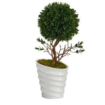 19 Boxwood Topiary Artificial Tree in White Vase UV Resistant Indoor/Outdoor - SKU #T1334