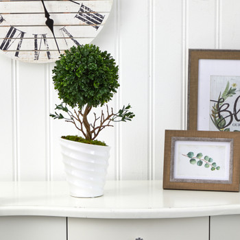 19 Boxwood Topiary Artificial Tree in White Vase UV Resistant Indoor/Outdoor - SKU #T1334