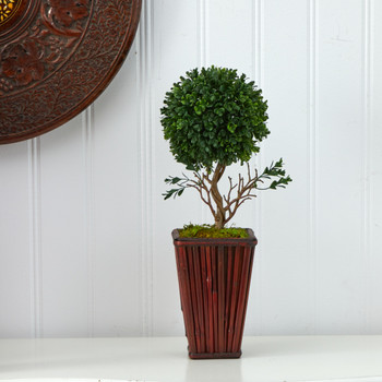 19 Boxwood Topiary Artificial Tree in Decorative Planter UV Resistant Indoor/Outdoor - SKU #T1335