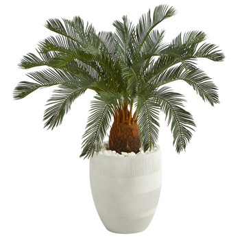 3.5 Cycas Artificial Tree in White Planter - SKU #T1340