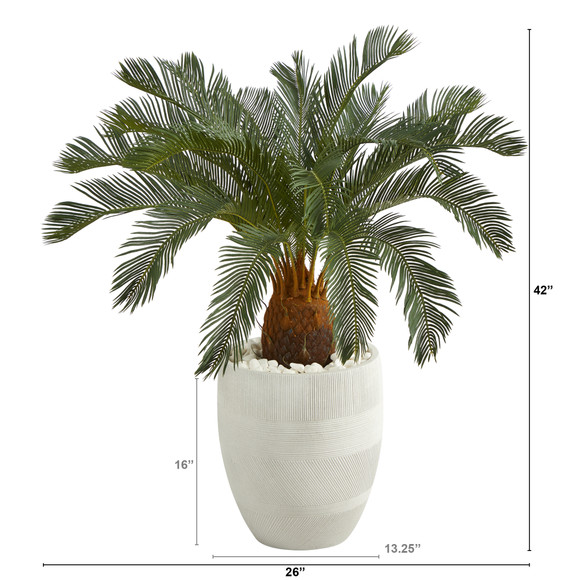 3.5 Cycas Artificial Tree in White Planter - SKU #T1340 - 1