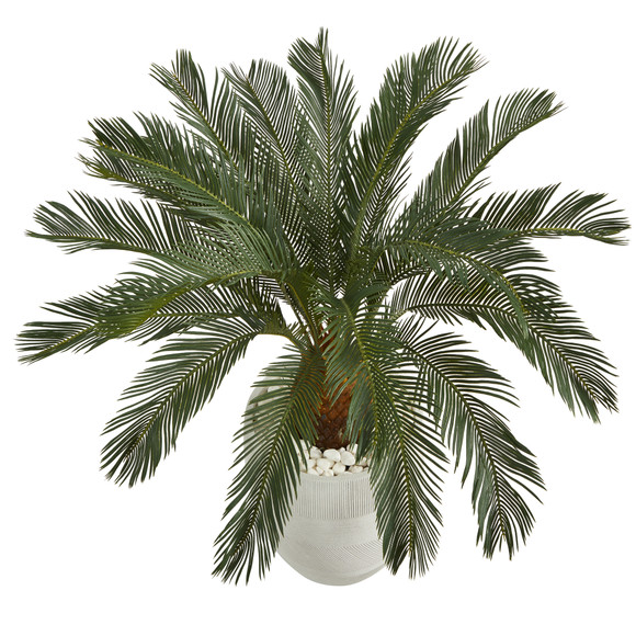 3.5 Cycas Artificial Tree in White Planter - SKU #T1340 - 2