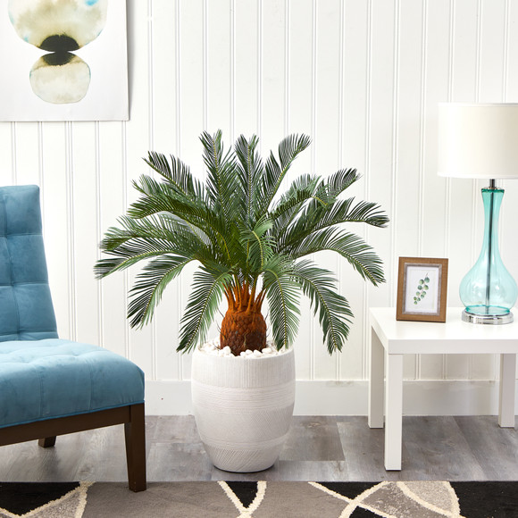 3.5 Cycas Artificial Tree in White Planter - SKU #T1340 - 3