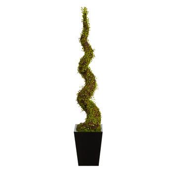 55 Mohlenbechia Spiral Artificial Tree in Black Metal Planter - SKU #T1341