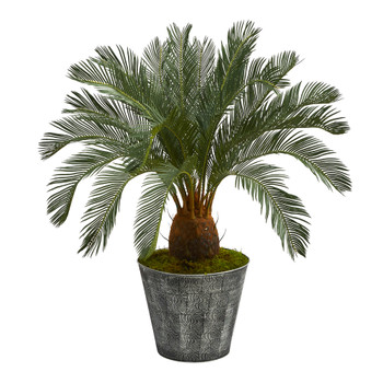 40 Cycas Artificial Tree in Black Embossed Tin Planter - SKU #T1343
