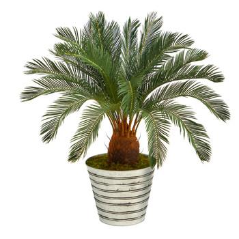 40 Cycas Artificial Tree in Decorative Tin Bucket - SKU #T1344