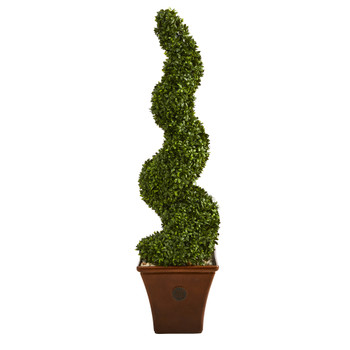 53 Spiral Hazel Leaf Artificial Topiary Tree in Brown Planter UV Resistant Indoor/Outdoor - SKU #T1347