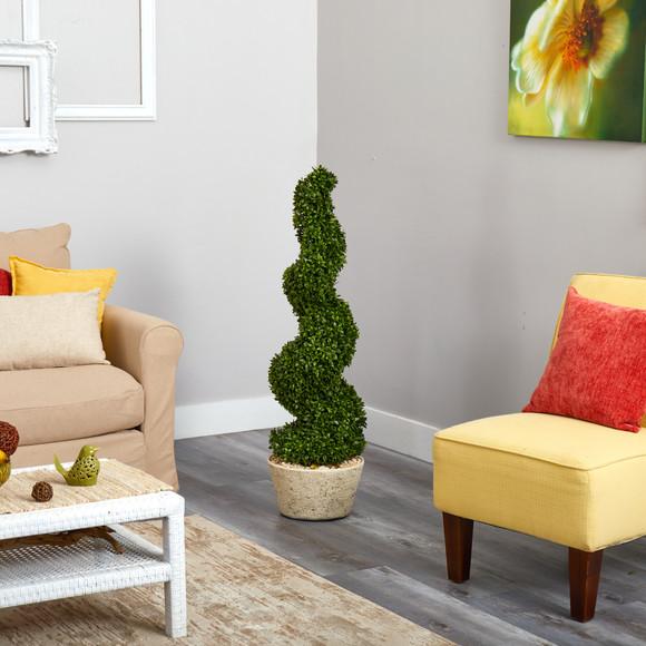 51 Spiral Hazel Leaf Artificial Topiary Tree in White Planter UV Resistant Indoor/Outdoor - SKU #T1349