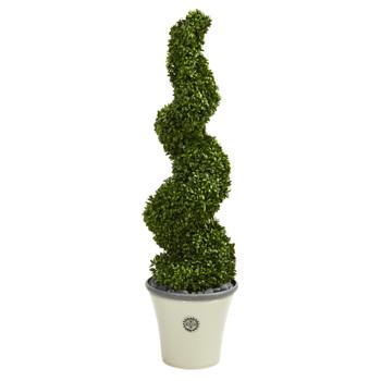 52 Spiral Hazel Leaf Artificial Topiary Tree in Decorative Planter UV Resistant Indoor/Outdoor - SKU #T1350