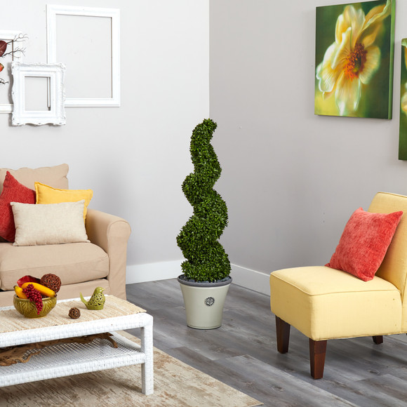 52 Spiral Hazel Leaf Artificial Topiary Tree in Decorative Planter UV Resistant Indoor/Outdoor - SKU #T1350