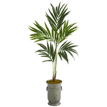 51 Kentia Artificial Palm Tree in Vintage Metal Planter - SKU #T1351