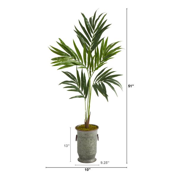 51 Kentia Artificial Palm Tree in Vintage Metal Planter - SKU #T1351 - 1