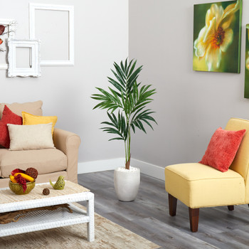 52 Kentia Artificial Palm Tree in White Planter - SKU #T1354