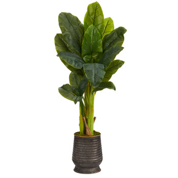 51 Triple Stalk Artificial Banana Tree in Ribbed Metal Planter Real Touch - SKU #T1357
