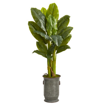 4.5 Triple Stalk Artificial Banana Tree in Vintage Metal Planter Real Touch - SKU #T1358