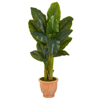 49 Triple Stalk Artificial Banana Tree in Terra-Cotta Planter Real Touch - SKU #T1360