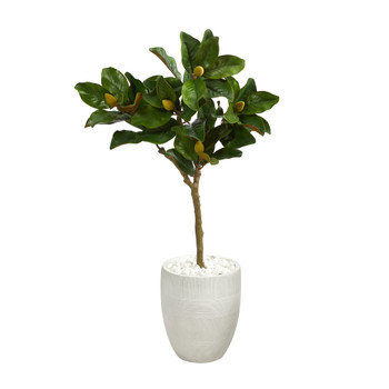 44 Magnolia Leaf Artificial Tree in White Planter - SKU #T1362