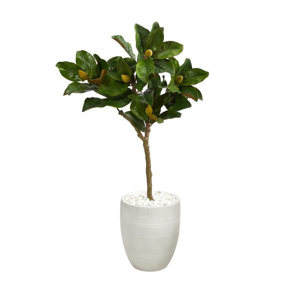 44 Magnolia Leaf Artificial Tree in White Planter - SKU #T1362