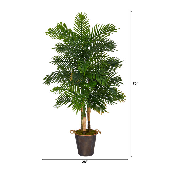70 Areca Palm Artificial Tree in Decorative Metal Pail with Rope Real Touch - SKU #T1363 - 1