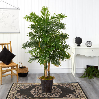 70 Areca Palm Artificial Tree in Decorative Metal Pail with Rope Real Touch - SKU #T1363