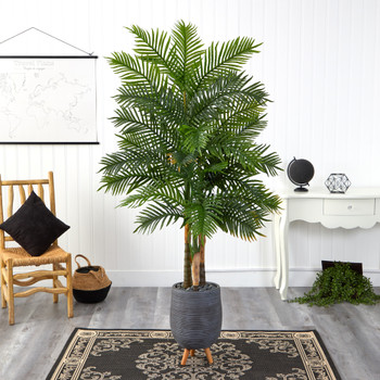 6 Areca Palm Artificial Tree in Gray Planter with Stand Real Touch - SKU #T1366