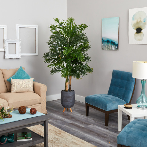 6 Areca Palm Artificial Tree in Gray Planter with Stand Real Touch - SKU #T1366 - 1