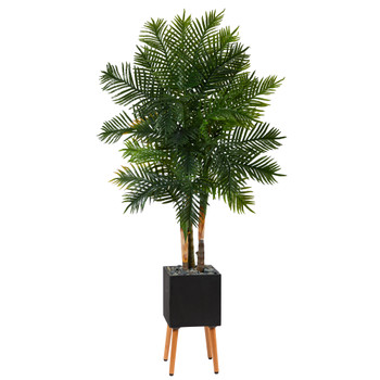 70 Areca Palm Artificial Tree in Black Planter with Stand - SKU #T1368