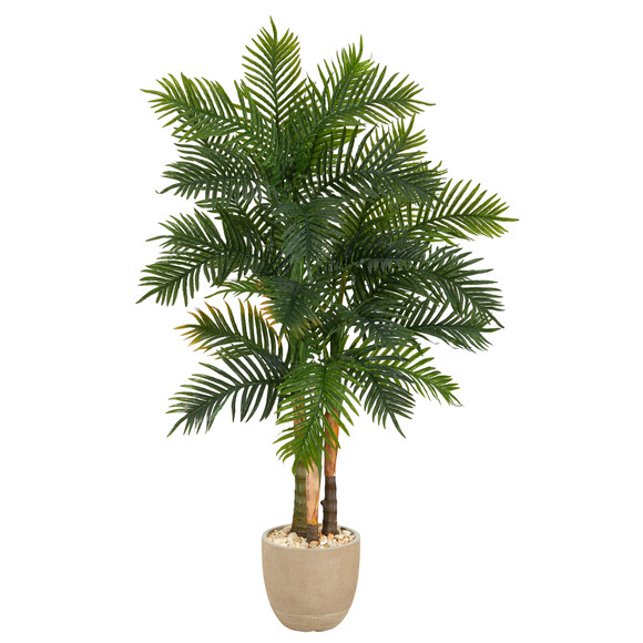 62 Areca Palm Artificial Tree in Sandstone Planter - SKU #T1369