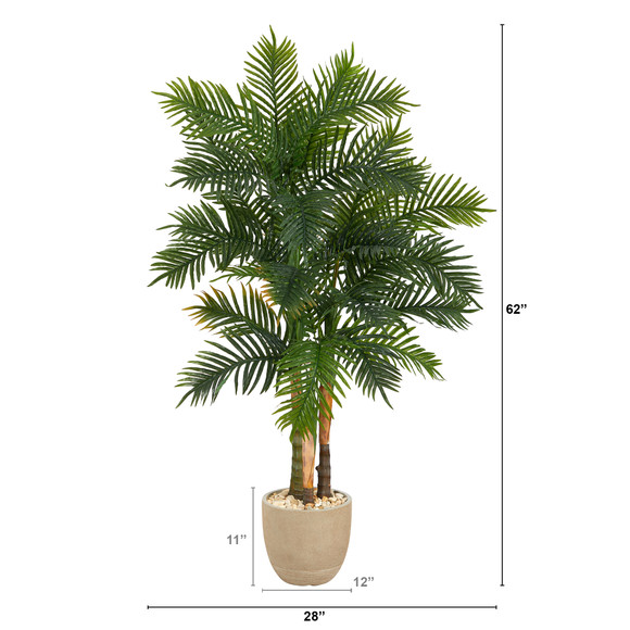 62 Areca Palm Artificial Tree in Sandstone Planter - SKU #T1369 - 1