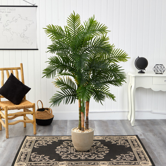 62 Areca Palm Artificial Tree in Sandstone Planter - SKU #T1369 - 2