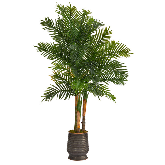 64 Areca Palm Artificial Tree in Ribbed Metal Planter Real Touch - SKU #T1370