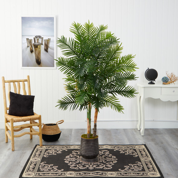 64 Areca Palm Artificial Tree in Ribbed Metal Planter Real Touch - SKU #T1370 - 2