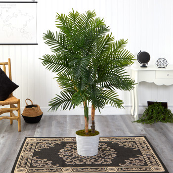 62 Areca Palm Artificial Tree in White Tin Planter Real Touch - SKU #T1371
