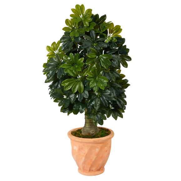 39 Schefflera Artificial Tree in Terra-Cotta Planter Real Touch - SKU #T1372