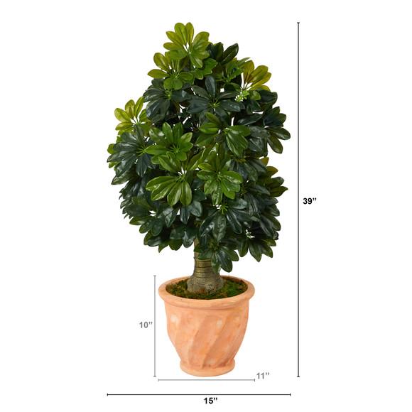 39 Schefflera Artificial Tree in Terra-Cotta Planter Real Touch - SKU #T1372 - 1