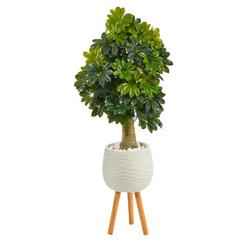 50 Schefflera Artificial Tree in White Planter with Stand Real Touch - SKU #T1373