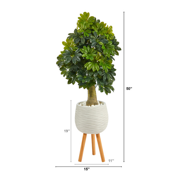 50 Schefflera Artificial Tree in White Planter with Stand Real Touch - SKU #T1373 - 1